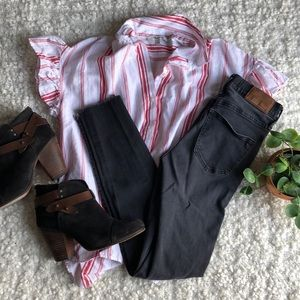 """Madewell 9"""" High Rise Distressed Black Jeans"""